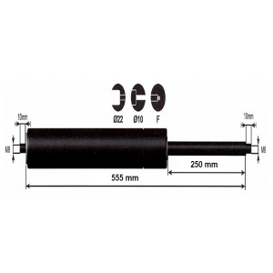 Vérin à gaz - 1250N - entraxe 600